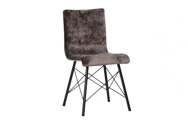 Plywood & Metal Brown Dining Chair - 360