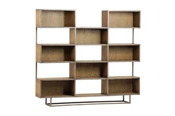 Brown Burnt Oak Wood 71 Inch Bookcase