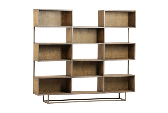 Brown Burnt Oak Wood 71 Inch Bookcase - 360