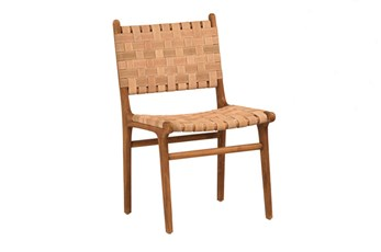 Natural Brown Teak Wood Leather Dining Chair