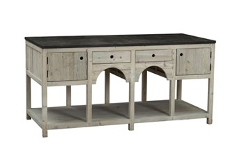 Grey White South Pine 2-Drawer/2-Door Island