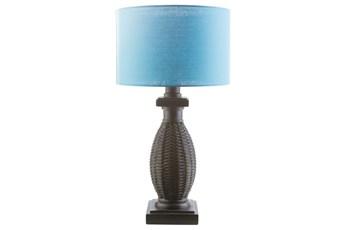Outdoor Table Lamp-Island Woven Aqua