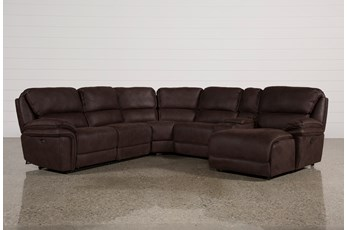 Norfolk Chocolate 6 Piece Sectional W/Raf Chaise