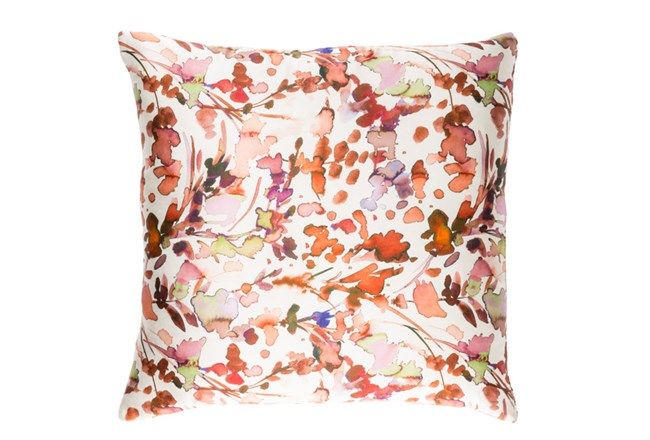 Accent Pillow-Watercolor Leaves Coral 22X22 - 360