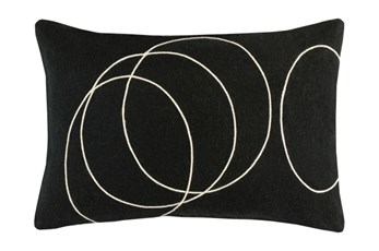 Accent Pillow-Felt Circles Black 19X13