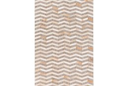 60X90 Rug-Viscose/Hide Chevron Taupe