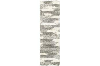 27X90 Rug-Beverly Shag Grey Tones