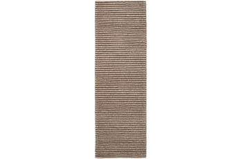 30X96 Rug-Felted Wool Stripe Brown