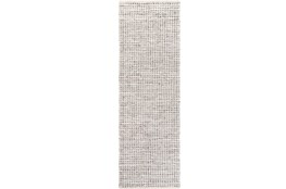 30X96 Rug-Leather And Cotton Grid Teal
