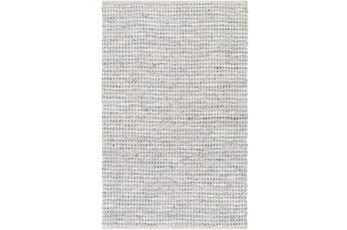 72X108 Rug-Leather And Cotton Grid Grey