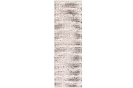30X96 Rug-Leather And Cotton Grid Brown