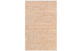 72X108 Rug-Leather And Cotton Grid Orange