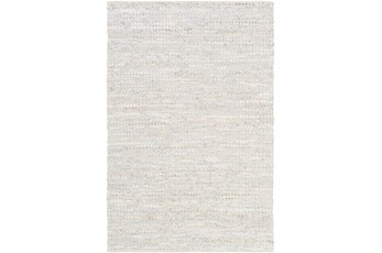 108X156 Rug-Leather And Cotton Grid Pale Blue