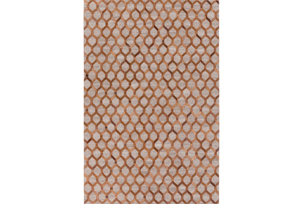 60X90 Rug-Viscose/Hide Honeycomb Brown