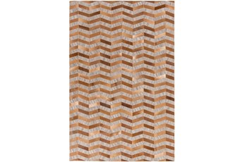 96X120 Rug-Viscose/Hide Chevron Tan