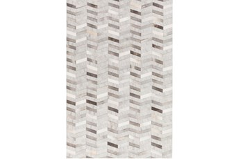 60X90 Rug-Viscose/Hide Chevron Grey