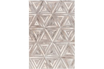 60X90 Rug-Viscose/Hide Triangles Taupe