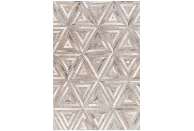 60X90 Rug-Viscose/Hide Triangles Taupe - 360