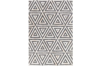 24X36 Rug-Viscose/Hide Triangles Charcoal