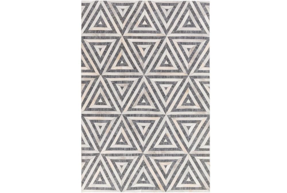 60X90 Rug-Viscose/Hide Triangles Charcoal