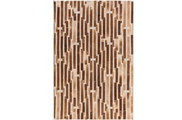60X90 Rug-Viscose/Hide Lines Brown