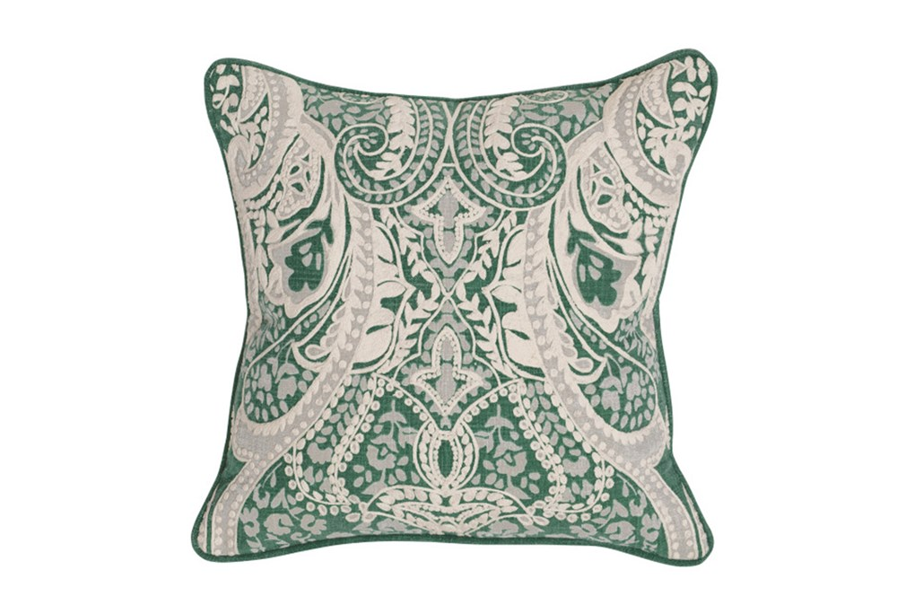 Accent Pillow-Green Ornate Embroidery 18X18