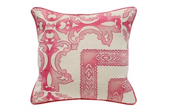 Accent Pillow-Fuschia Tie Dye Scrollwork 18X18