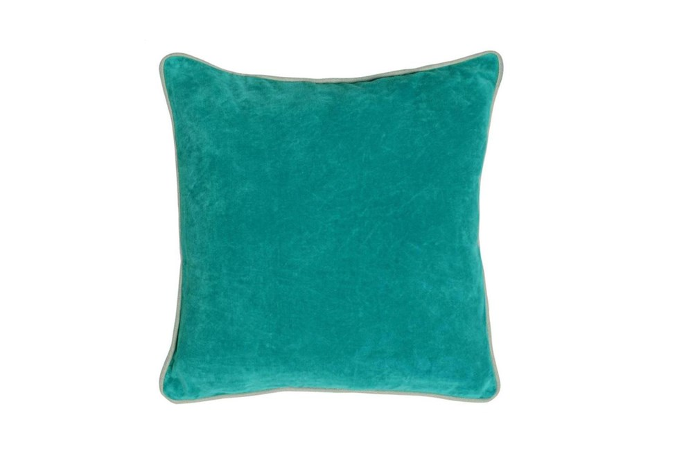 Accent Pillow-Aqua Washed Velvet 18X18