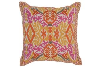 Accent Pillow-Mango & Fuschia Ikat Border 22X22