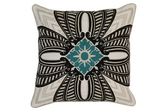Accent Pillow-Onyx & Surf Medallion 22X22