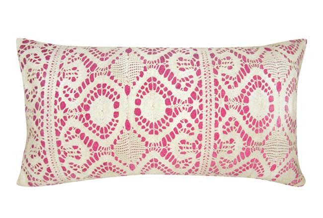 Accent Pillow-Fuschia Lace 14X26 - 360