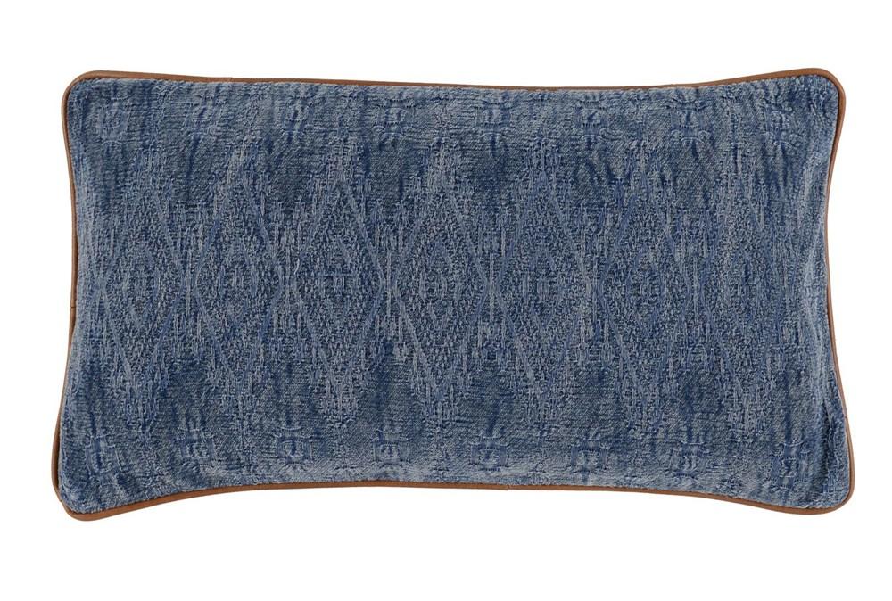 Accent Pillow-Leather Trim Aged Denim 14X26