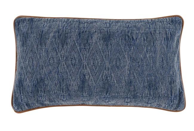 Accent Pillow-Leather Trim Aged Denim 14X26 - 360