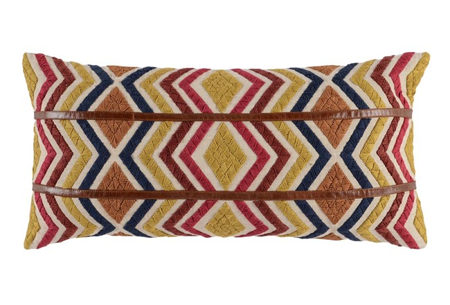 Accent Pillow-Leather Diamond Tribe Multi 14X26 - 360
