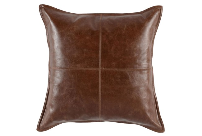 Accent Pillow-Cognac Leather 22X22 - 360