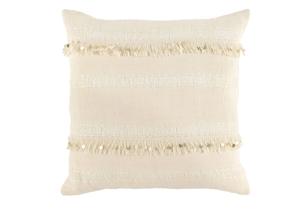 Accent Pillow-Ivory Tassel Stripes 22X22