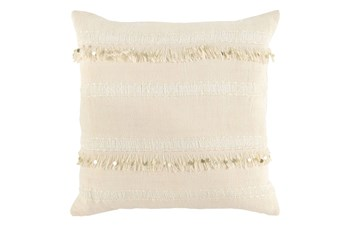 Accent Pillow-Ivory Tassel Stripes 22X22