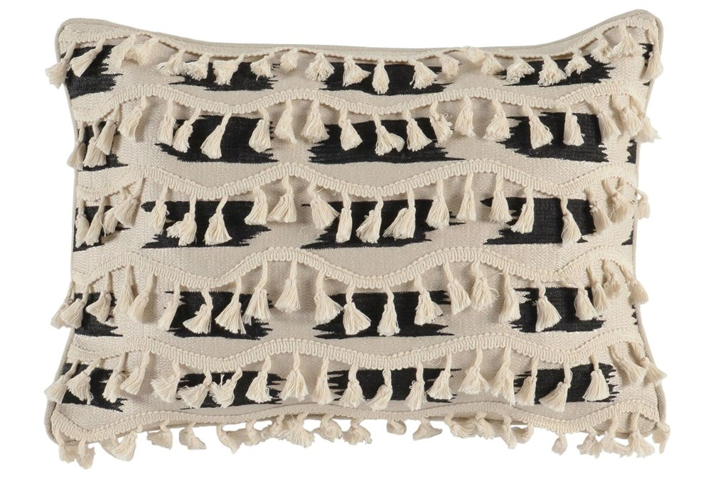 Accent Pillow-Black And Ivory Tassel Trim 14X26