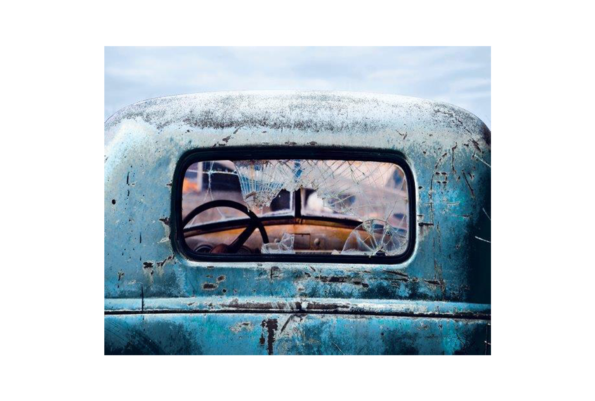 Picture-Old Blue Car 40X50