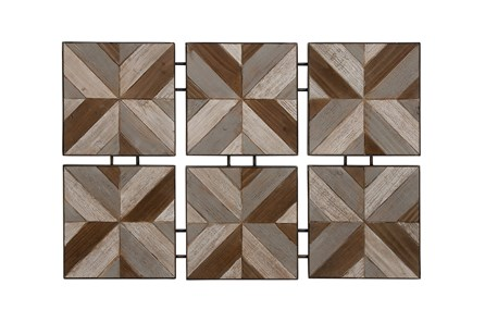 6 Piece Set Wood Metal Wall Decor