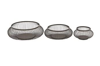 3 Piece Set Black Metal Baskets