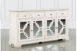 Mango Wood Grey 4-Drawer/4-Door Sideboard