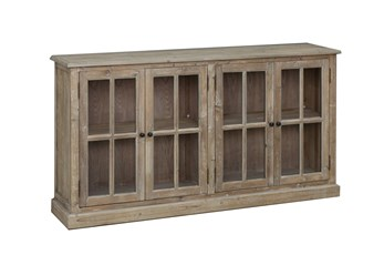 Natural 4-Door Glass Cabinet