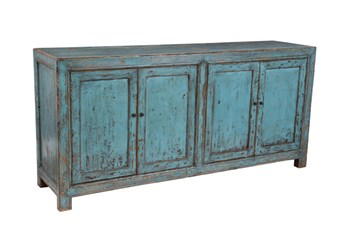 Reclaimed Pine Turquoise 4-Door Buffet