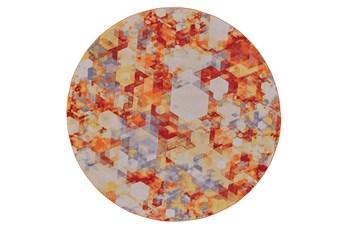 96 Inch Round Rug-Pixel Orange/Multi