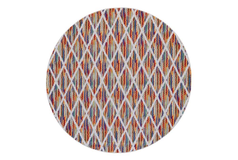 96 Inch Round Rug-Diamond Pixel Shower Orange/Multi