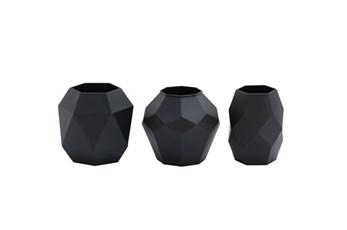 3 Piece Set Black Prizm Vases