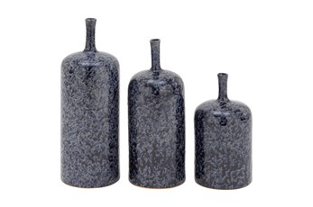 3 Piece Set Blue Ceramic Vases