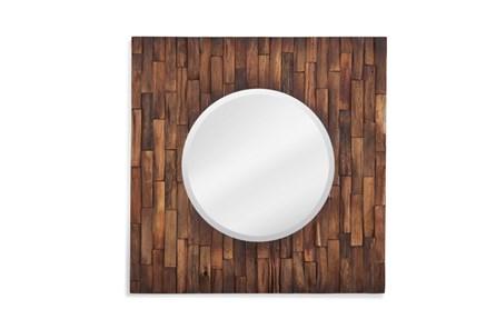 Mirror-Distressed Wood Square 24X24