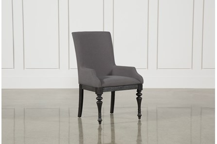 Caira Black Upholstered Arm Chair